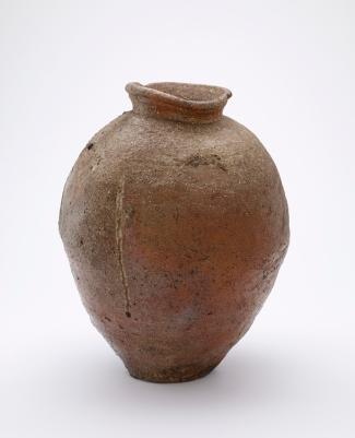 Narrow-necked storage jar Medium: Stoneware with natural wood-ash glaze Dimensions: H x Diam (overall): 47 x 36.8 cm (18 1/2 x 14 1/2 in) Style: Shigaraki ware Type: Ceramic, Vessel Origin: Probably Minami Matsuo kilns, Shigaraki, Shiga prefecture, Japan Topic: Shigaraki ware, Muromachi period (1333 - 1573), Japan, stoneware, Japanese Art Credit Line: Purchase Date: 1400-1450 Period: Muromachi period