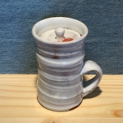 lidded mug - delft white