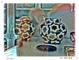 Ogata Kenzan - tea jars, behind glass, Freer Museum