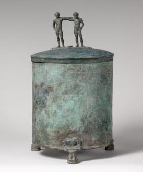 Working Title/Artist: Cista with Herakles Amazonomachy Department: Greek & Roman Art Culture/Period/Location: HB/TOA Date Code: Working Date: 4th-3rd centuries B.C. mma digital photo #DP109251