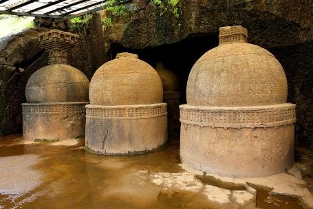 Votive stupas also calles as memorial stupas on the way to cave No. 20. circa 150 B.C. Bhaja caves, Dist. Pune, Maharashtra India.