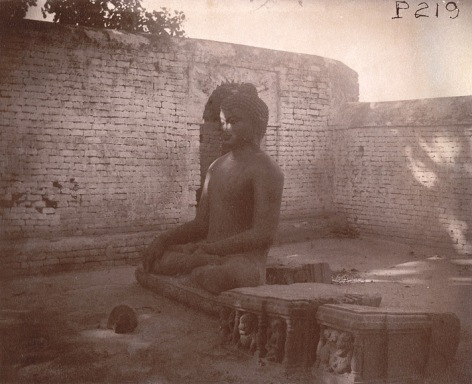 Photograph of a statue of Buddha from Nalanda, in Bihar, taken by Alexander Caddy in 1895.